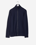Cotton Merino Zip Jkt Navy