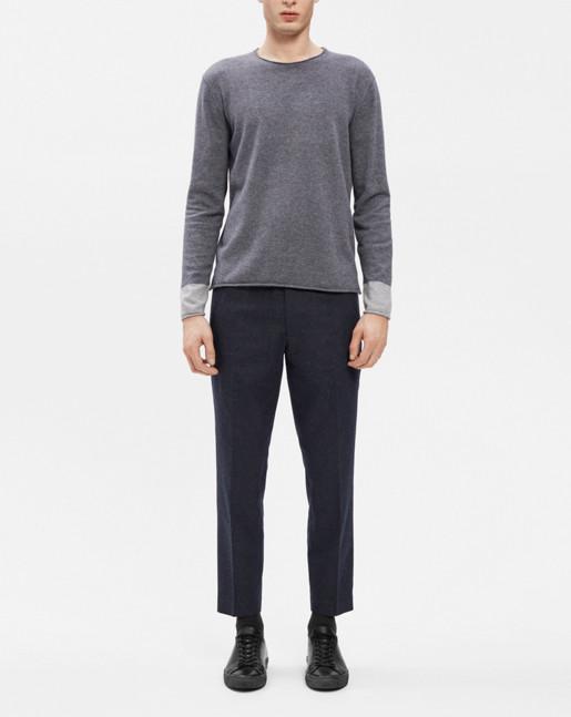 Cotton Merino Roll edge Sweater Grey Mel./Lt Grey Mel.
