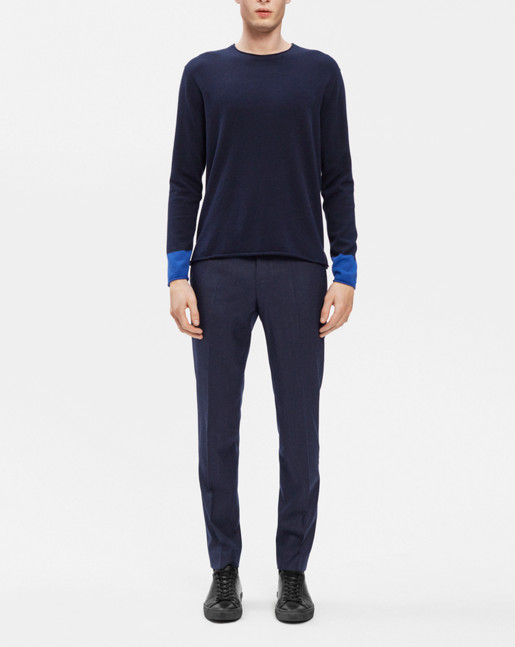 Cotton Merino Roll edge Sweater Navy/Shore