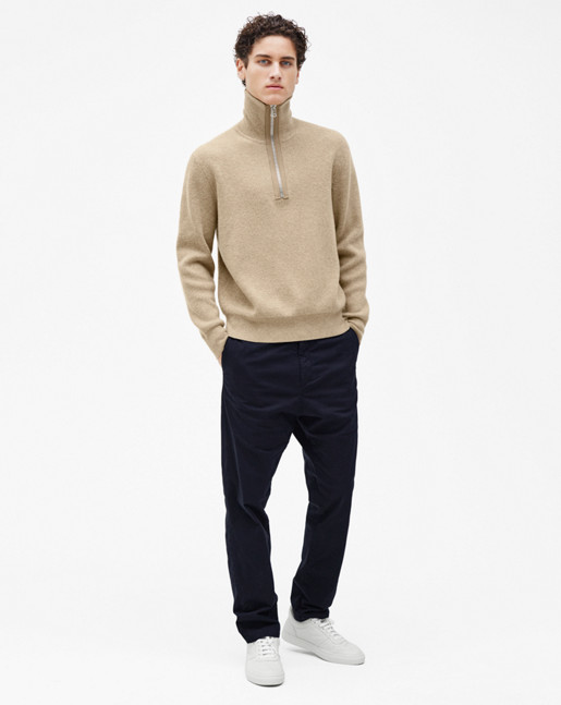 Half Zip Ribbed Sweater Greige Mel