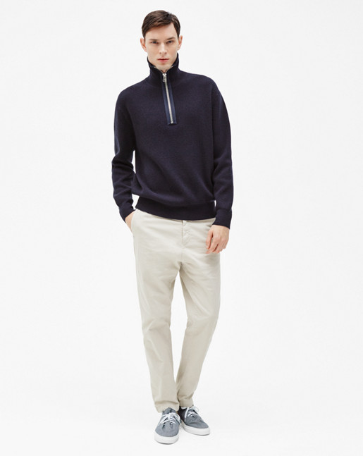 Half Zip Ribbed Sweater Navy