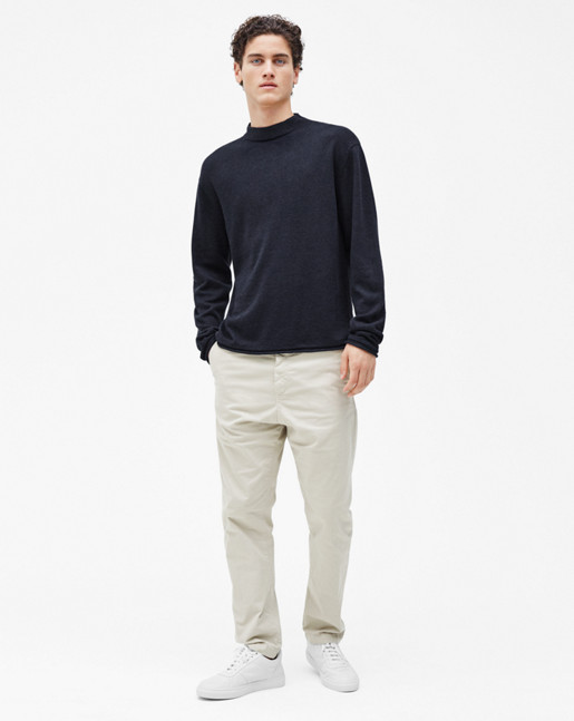 Cotton Linen Turtleneck Navy
