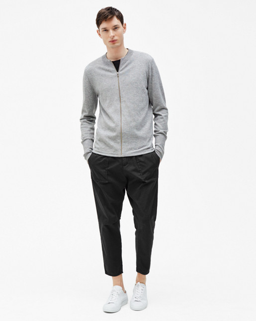 Zip Cardigan Light Grey