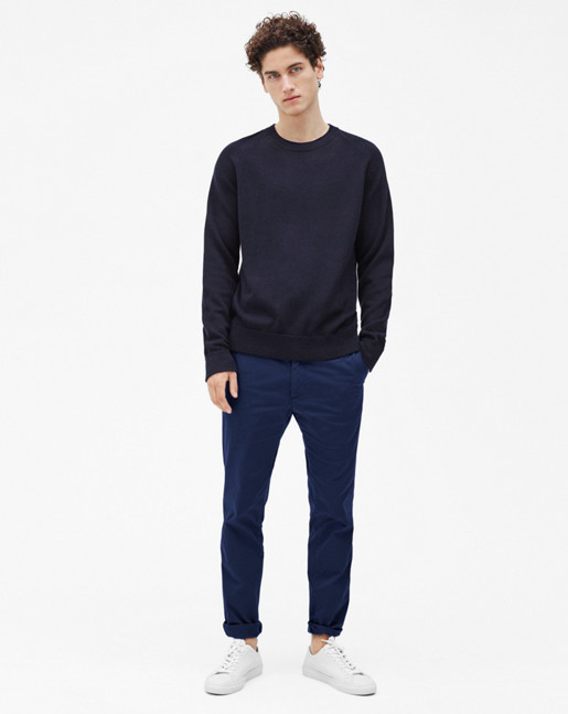 Sharp Cotton Tuck Knit Navy
