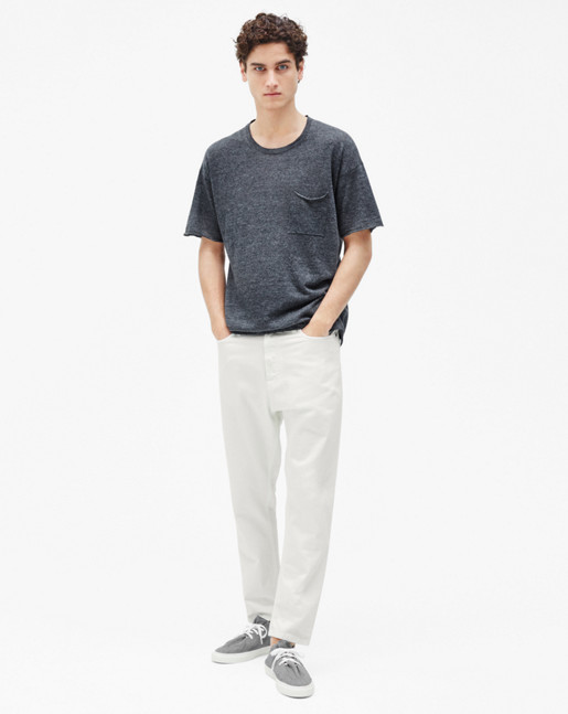 Linen Knit Tee Dark Grey Melange