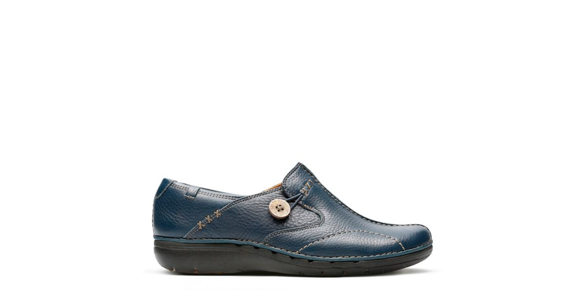 Un Loop Navy Leather Women S Wide Width Shoes Clarks