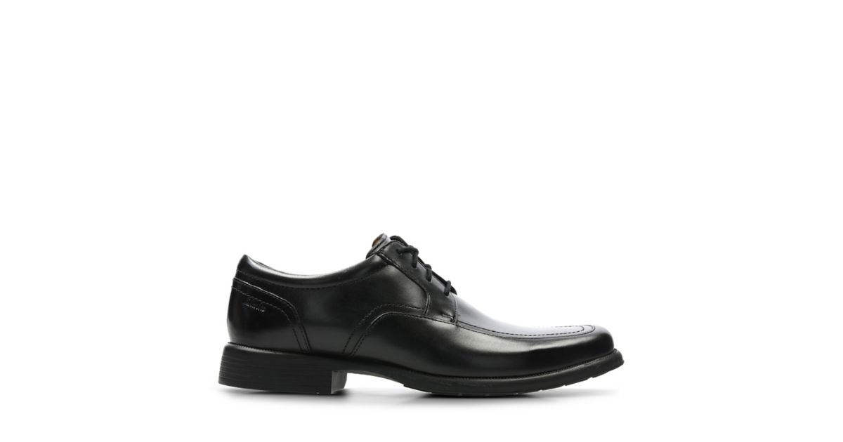 Huckley Spring Black Leather Clarks