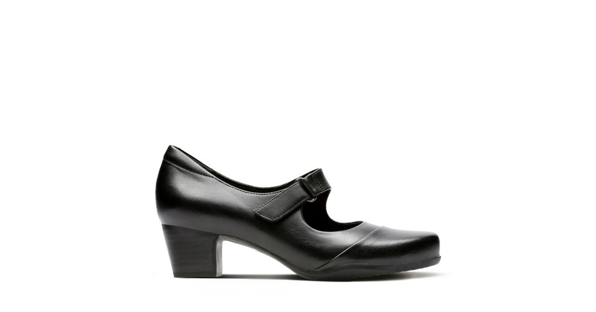 Fit Women's Clarks® Rosalyn Black Heels Wide Wren Shoes Leather 4wnTqOS