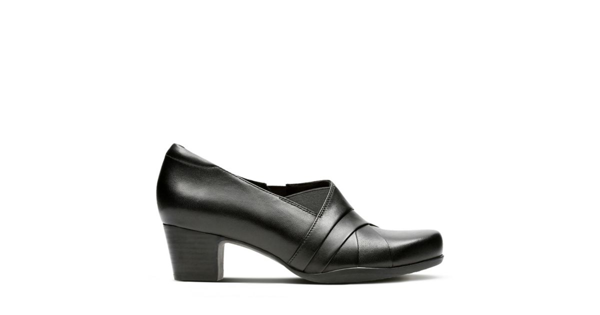 Rosalyn Adele Black Leather Women S Wide Fit Heels
