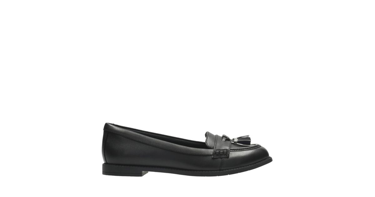 Preppy Edge BL. Kids School Shoes. Black Leather