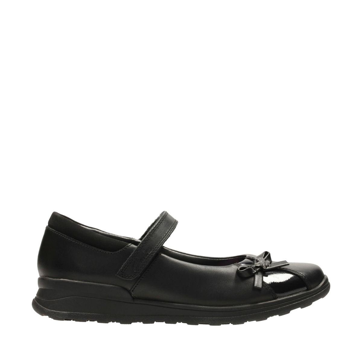 Clarks MarielWish Jnr Girl's School Shoes 2 E Black Leather