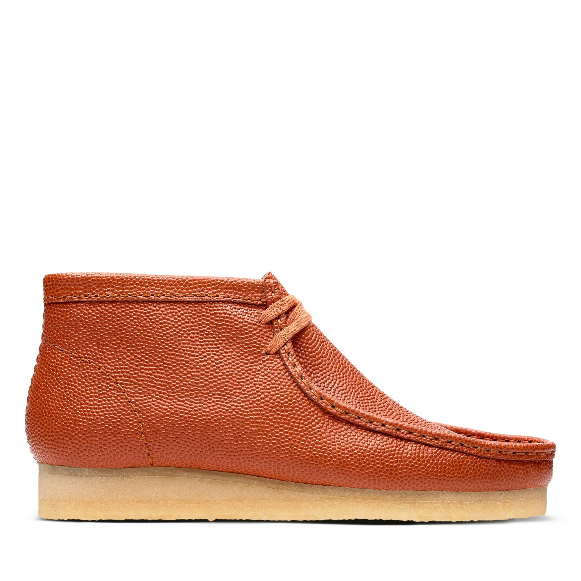 Mens Vintage Style Shoes| Retro Classic Shoes Clarks Wallabee Boot - Orange Leather - Mens 13 Medium $240.00 AT vintagedancer.com