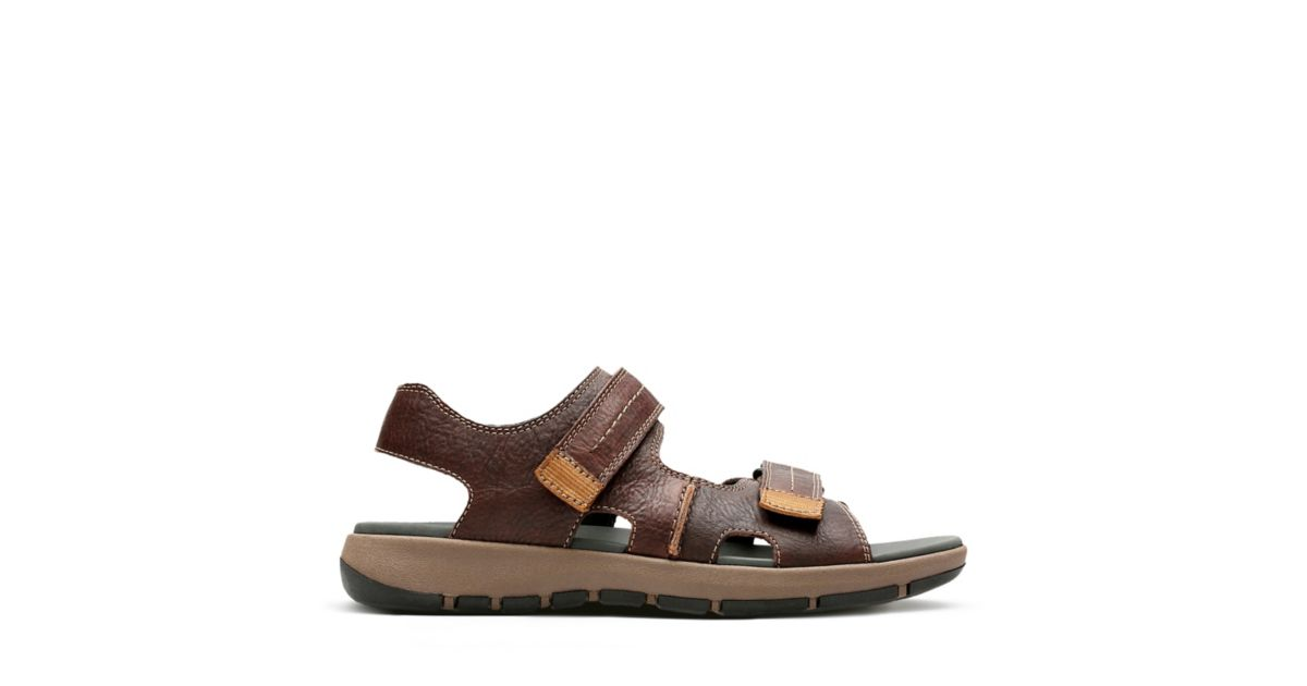 b8840cfaf288a Brixby Shore Dark Brown Leather - Mens Slide Sandals - Clarks® Shoes  Official Site