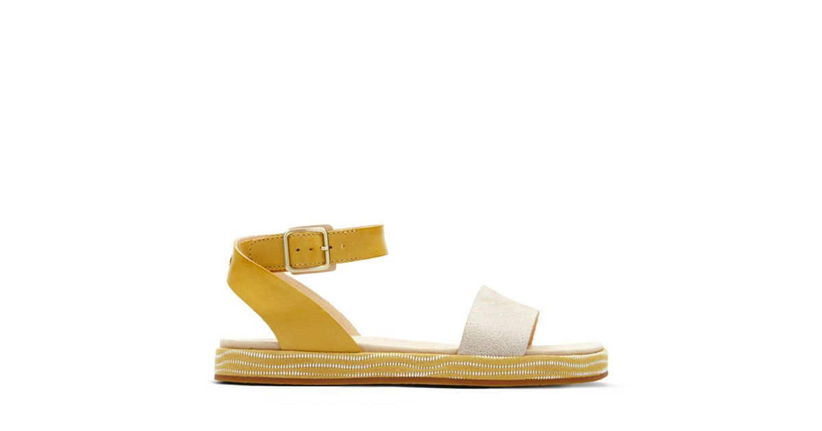 602cfbc53cbb botanic ivy yellow combi womens flat sandals clarks® shoes official site