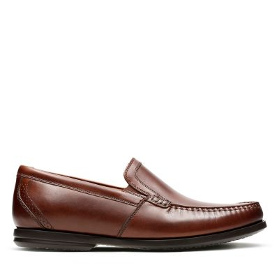 Clarks Mens Un Gala Free Dark Tan Leather Shoes