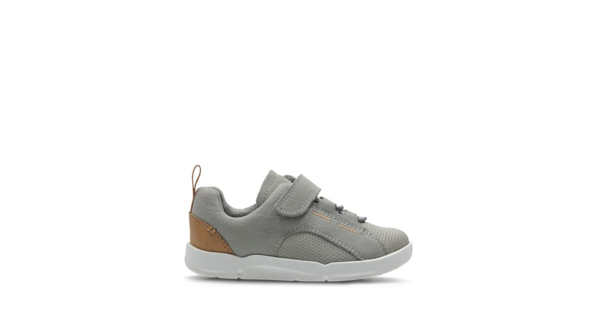 Tri Leap. Kids Sport Shoes. Grey Leather