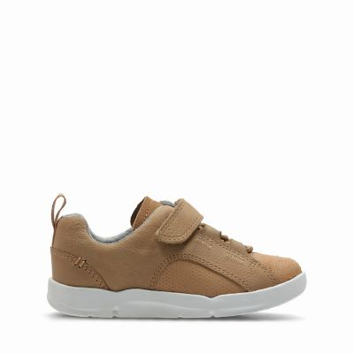 Tri Leap. Kids Sport Shoes. Tan Leather