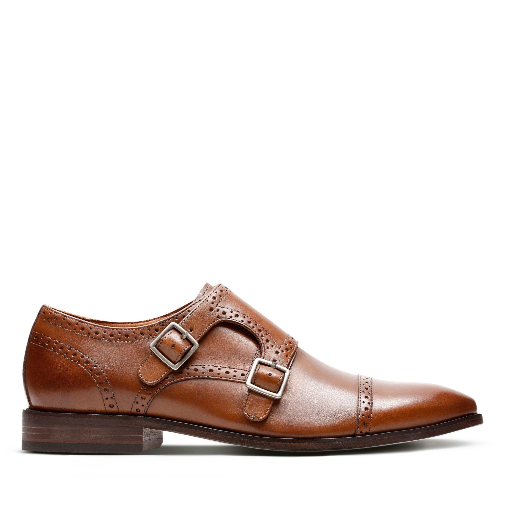 1950s Mens Shoes: Saddle Shoes, Boots, Greaser, Rockabilly Clarks Nantasket Monk - Dark Tan Leather - Mens 12 Medium $120.00 AT vintagedancer.com