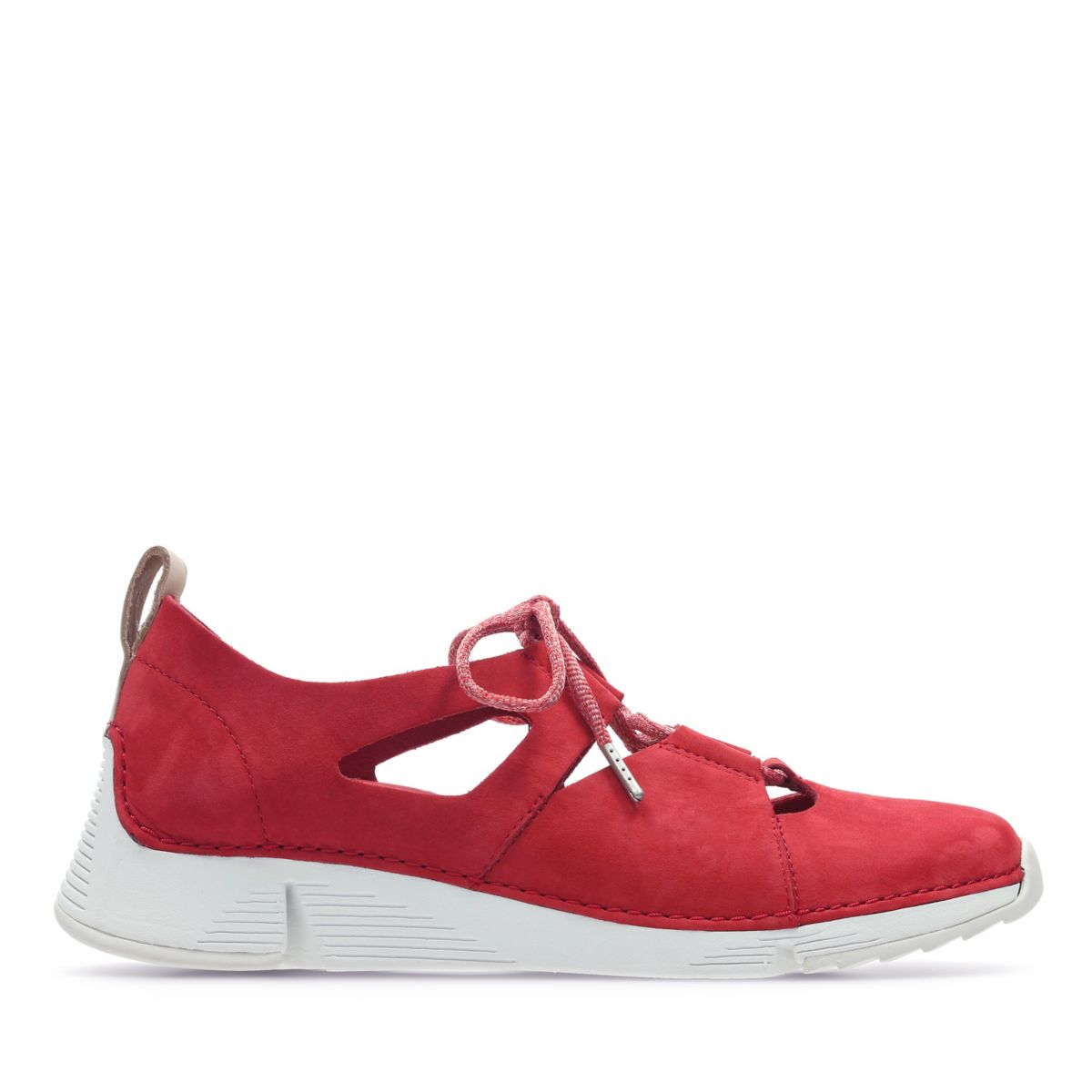 Clarks Damen Tri Sense Sneaker, (Red Nubuck-)