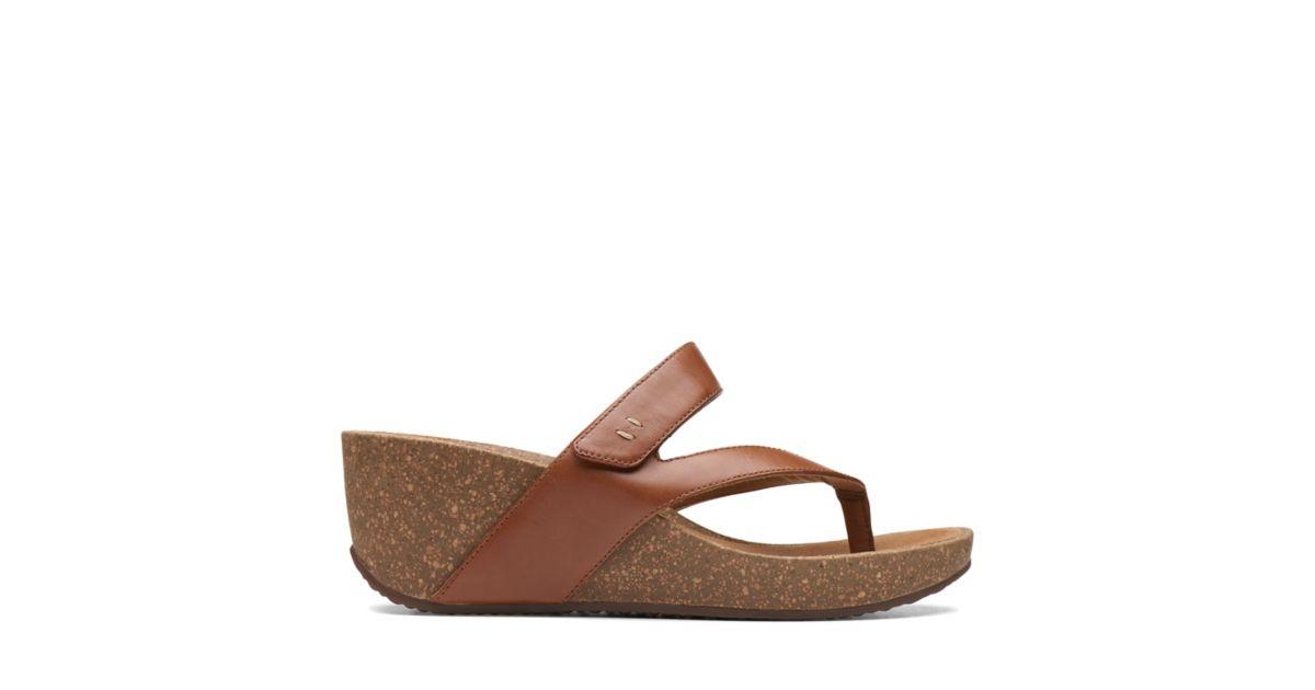 Temira Palm Dark Tan Leather Womens Sandals Clarks