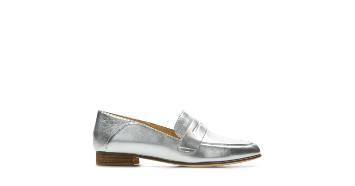 Pure Iris Silver Leather Womens Loafers Clarks 174 Shoes