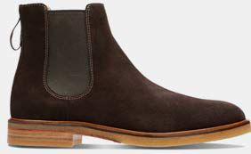Clarkdale Gobi, Chelsea Boots für Herren in Dunkelbraunes Veloursleder
