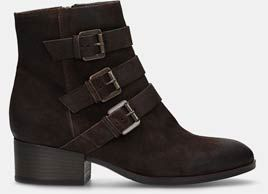 Elvina haze, Dark brown suede womens biker boot