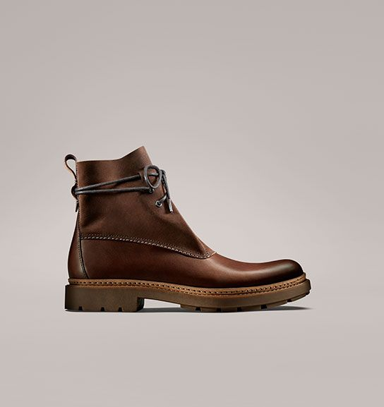 Trace Dusk, men's ankle boots in mahogany leather