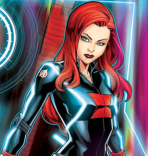 Cartoon image of Black Widow, select this box to see a larger image