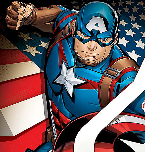 Cartoon image of Captain America, select this box to see a larger image