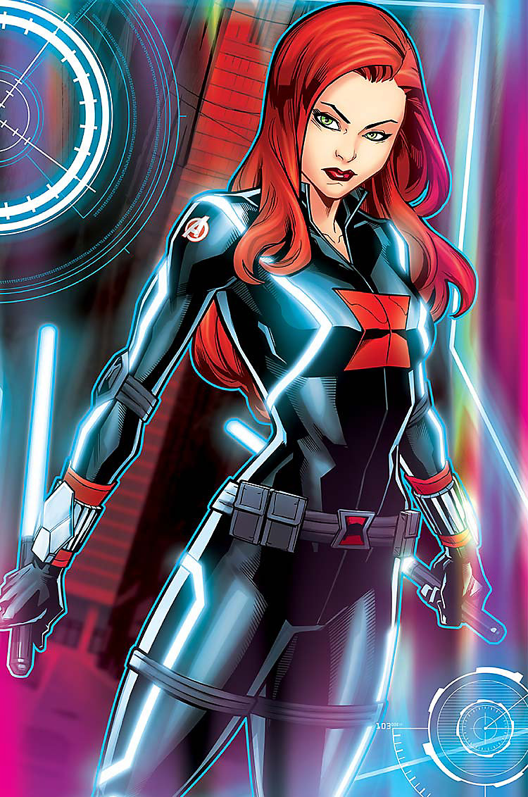 Enlarged Cartoon image of Black Widow