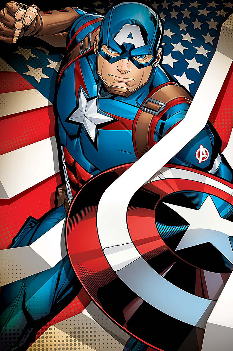 Enlarged Cartoon image of Captain America