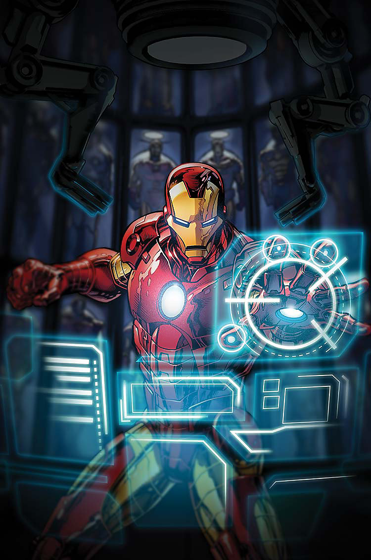 Enlarged Cartoon image of Iron Man