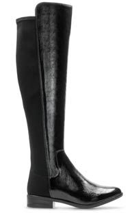 Caddy Belle, Schwarzes Leder women's knee high boots