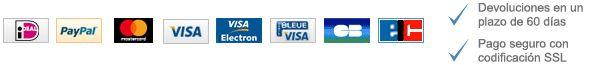 Los métodos de pago aceptados aparecen más abajo: ideal, PayPal, MasterCard, Visa, Visa Electron, Bleue visa, CB & ELC