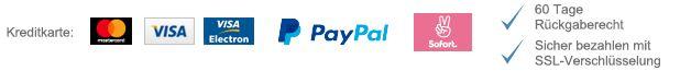 Kreditkarte: Mastercard, Visa, Visa Electron. PayPal. Sofort Überweisung. 60 Tage Rückgaberecht. Sicher bezahlen mit SSL-Verschlüsselung