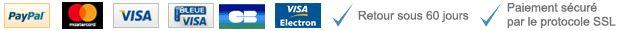 PayPal, Bleue Visa, CB, Visa electron. Retour sous 60 jours. Paiement sécuré par le protocole SSL