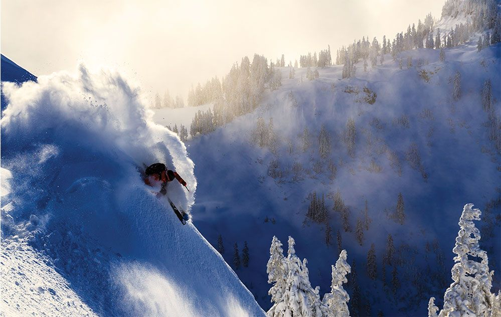 Image of skier Austin Ross going down a mountain