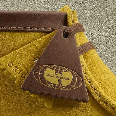 Close-up of a Clarks Wallabee Wu Wear shoe fob
