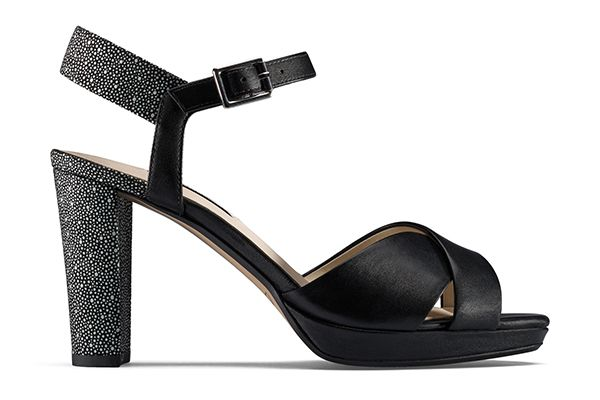 Kendra Petal, black leather heeled sandals