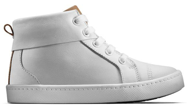 White high-top trainer boot