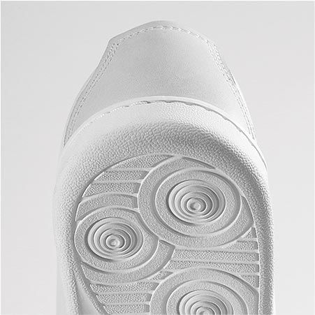 A close-up of the rear part of the sole of a shoe
