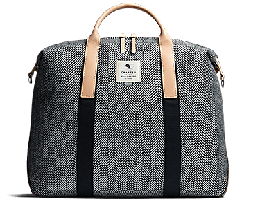 The Moorgate, men's bags, black and white herringbone textile
