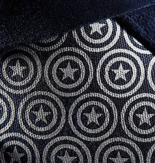 Close up shot of the Captain America sneakers' upper