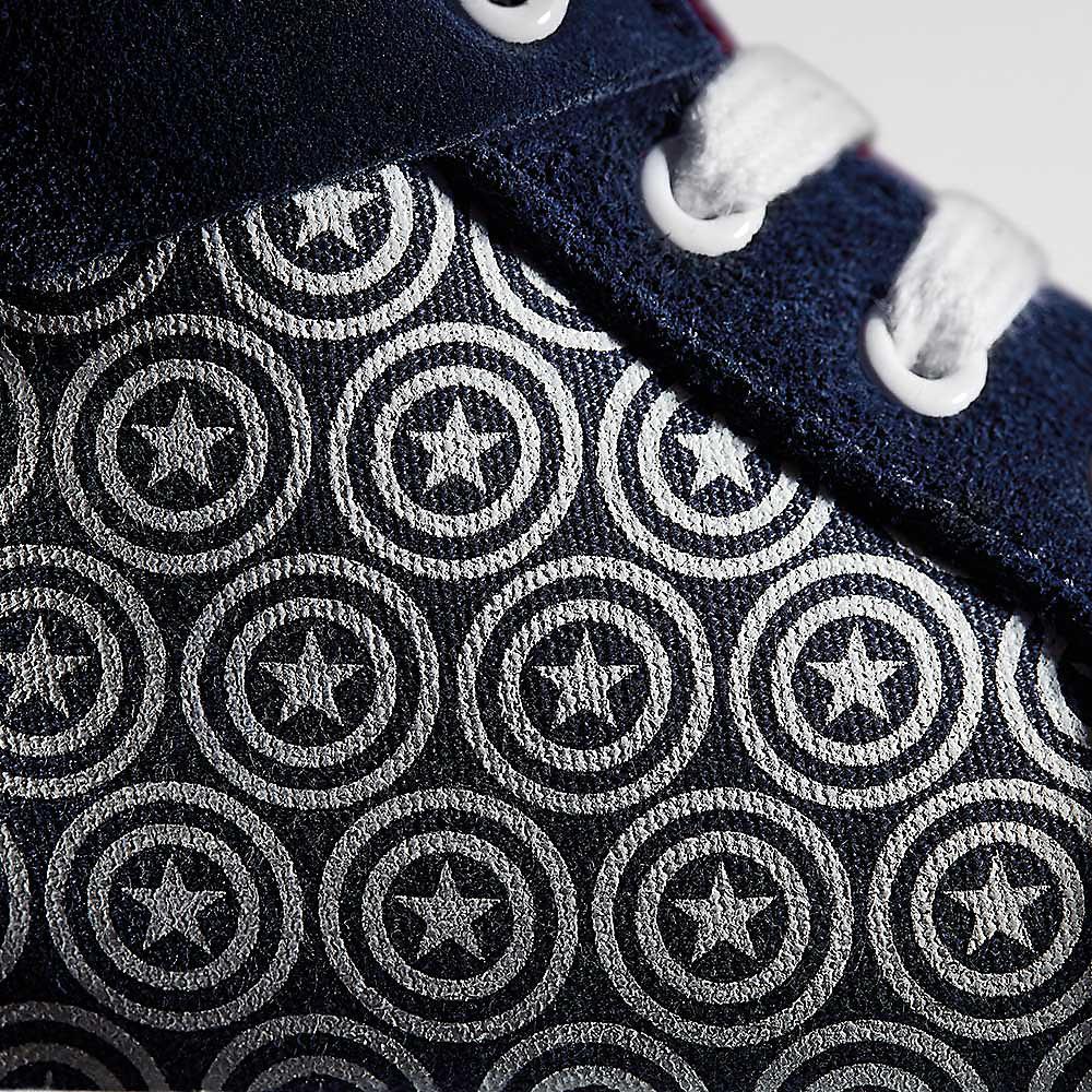 Obermaterial-Nahaufnahme von Captain America Schuhen