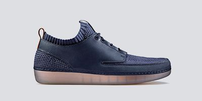 Clarks Nature IV, navy leather and mesh men's sneakers