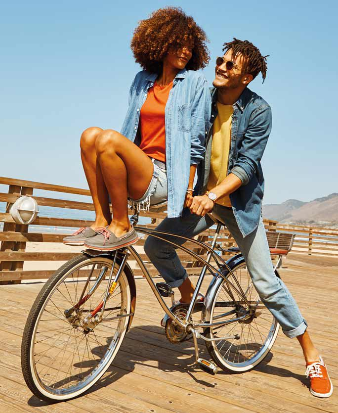 Two people sitting on a bike