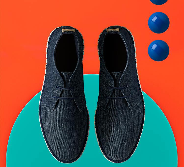Top down view of a pair of MZT Zest for mens in navy canvas