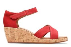 Un Plaza Cross, Womens Wedge Sandals in red Premium Nubuck Leather