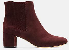 Orabella Anna, Burgundy suede womens heeled ankle boot
